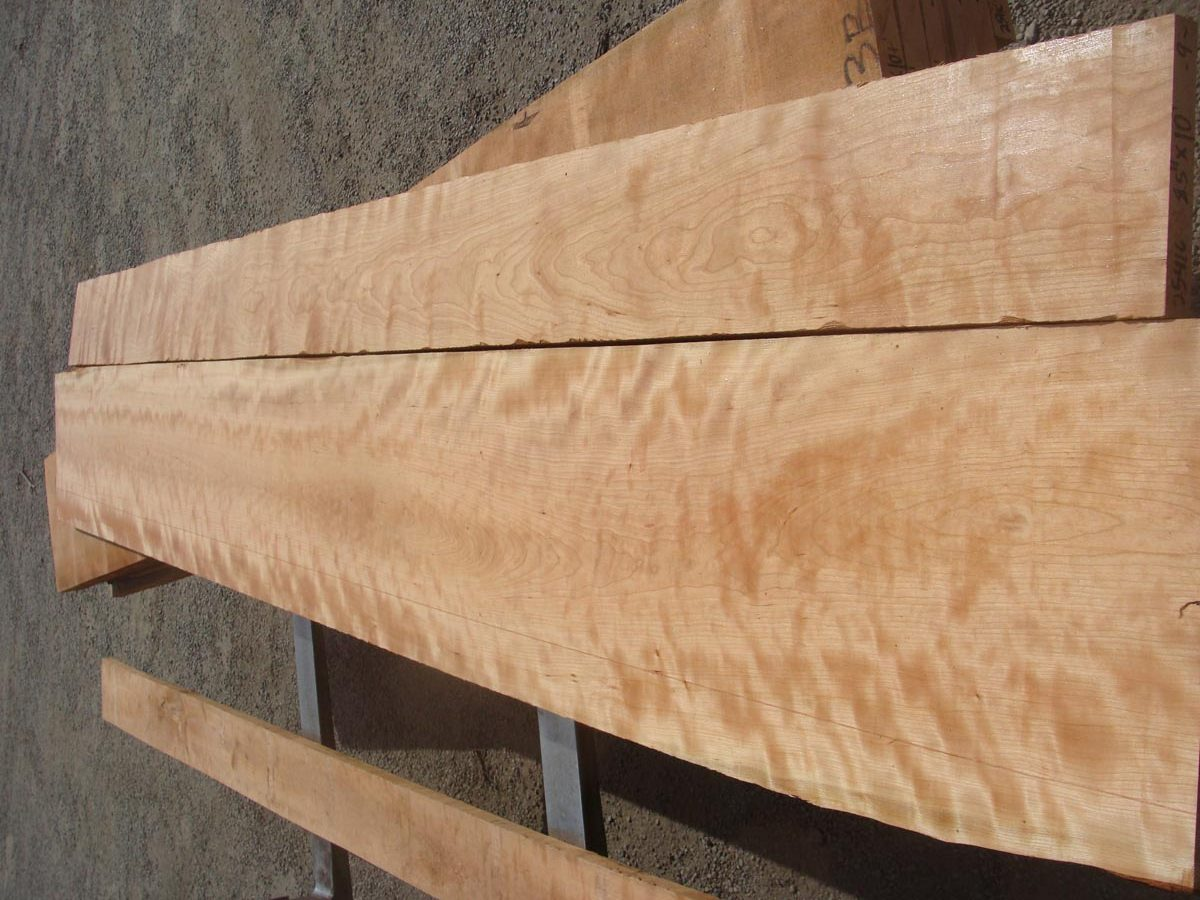 wide curly cherry, premium curly cherry, high quality lumber