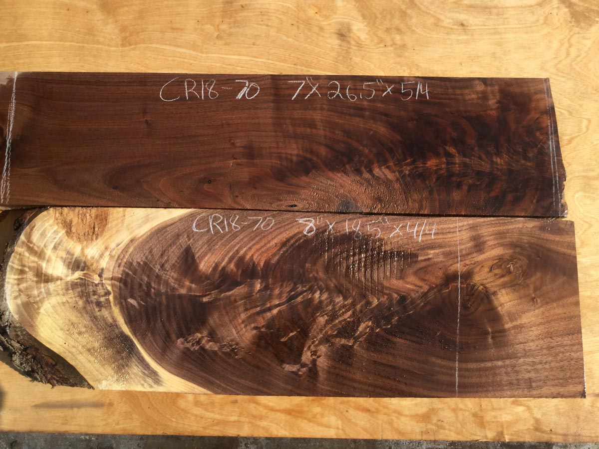 walnut crotches, door panels, drawer panels