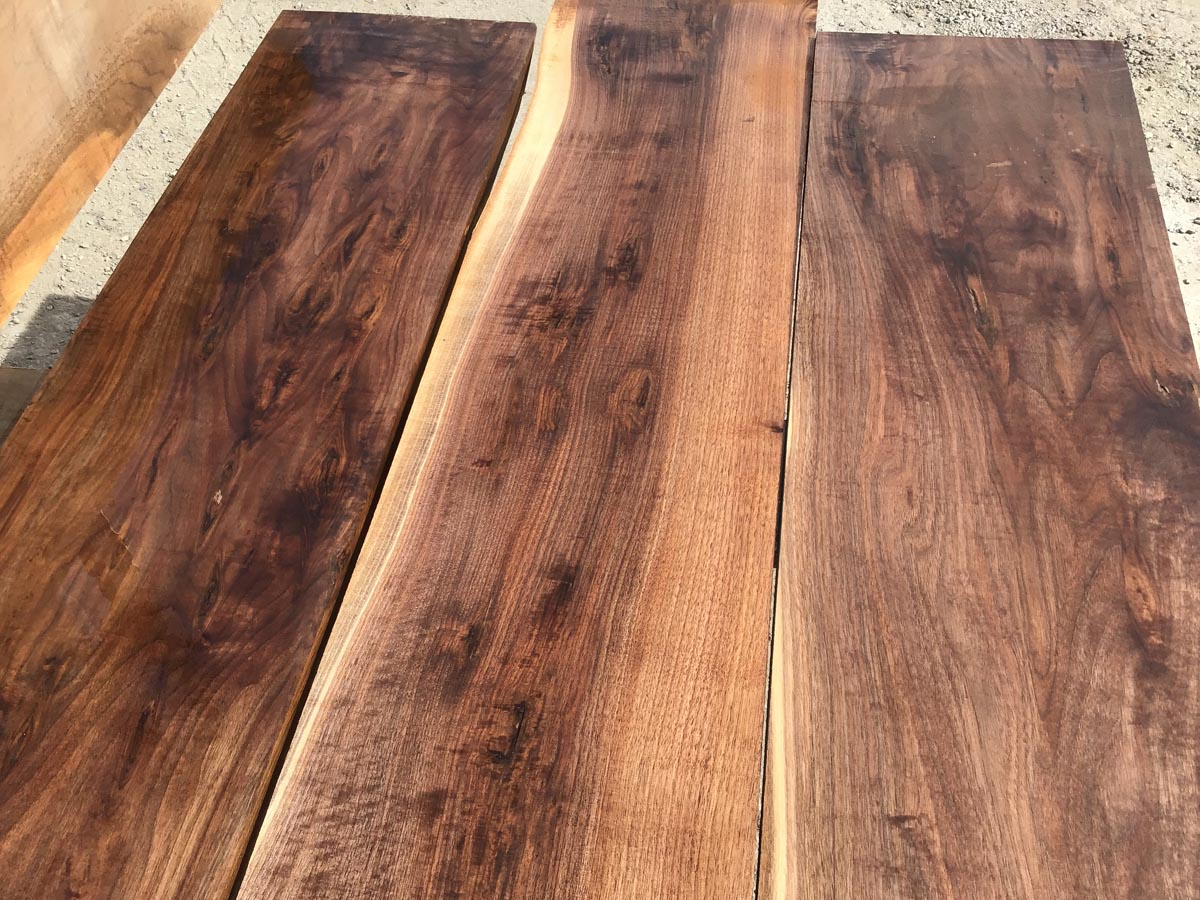 wooden tops, wide lumber, rustic walnut