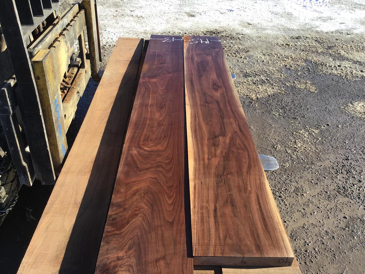 unsteamed walnut, hardwood tops, premium lumber