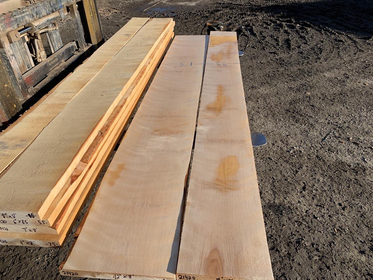 hardwood tops, wooden tops, flame birch