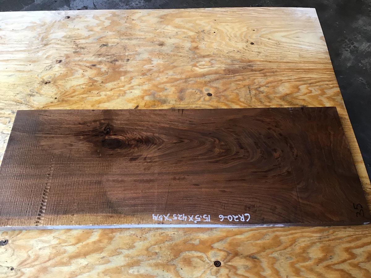 walnut crotch, door panels, drawer panels