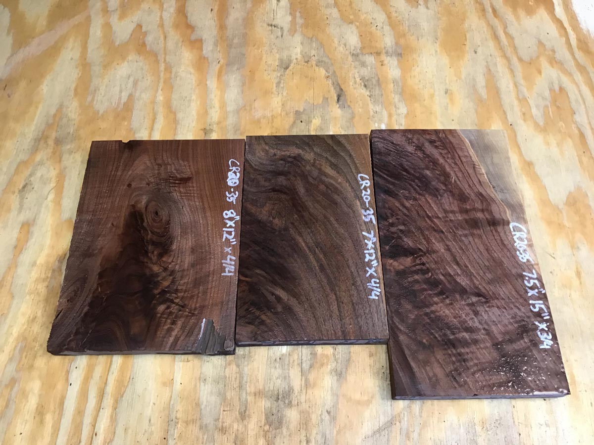 walnut crotch, drawer fronts, door fronts, figured walnut