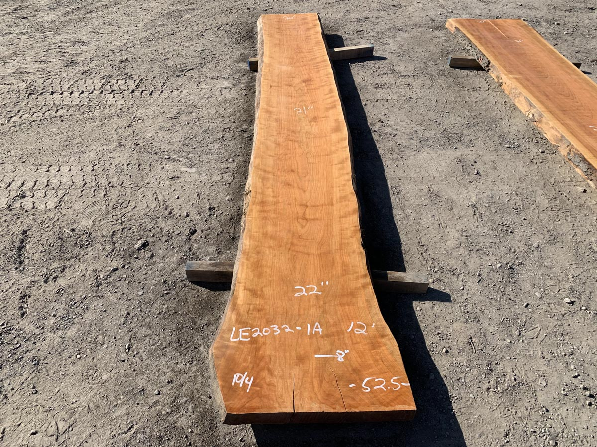 live edge curly cherry, wooden tops, hardwood tops, premium lumber