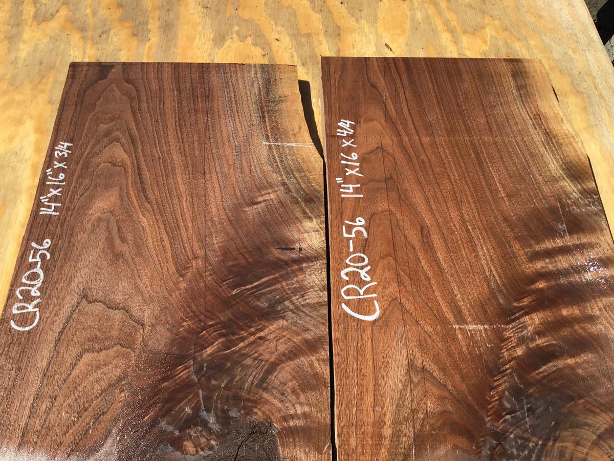 walnut crotches, book match, drawer panels, door panels
