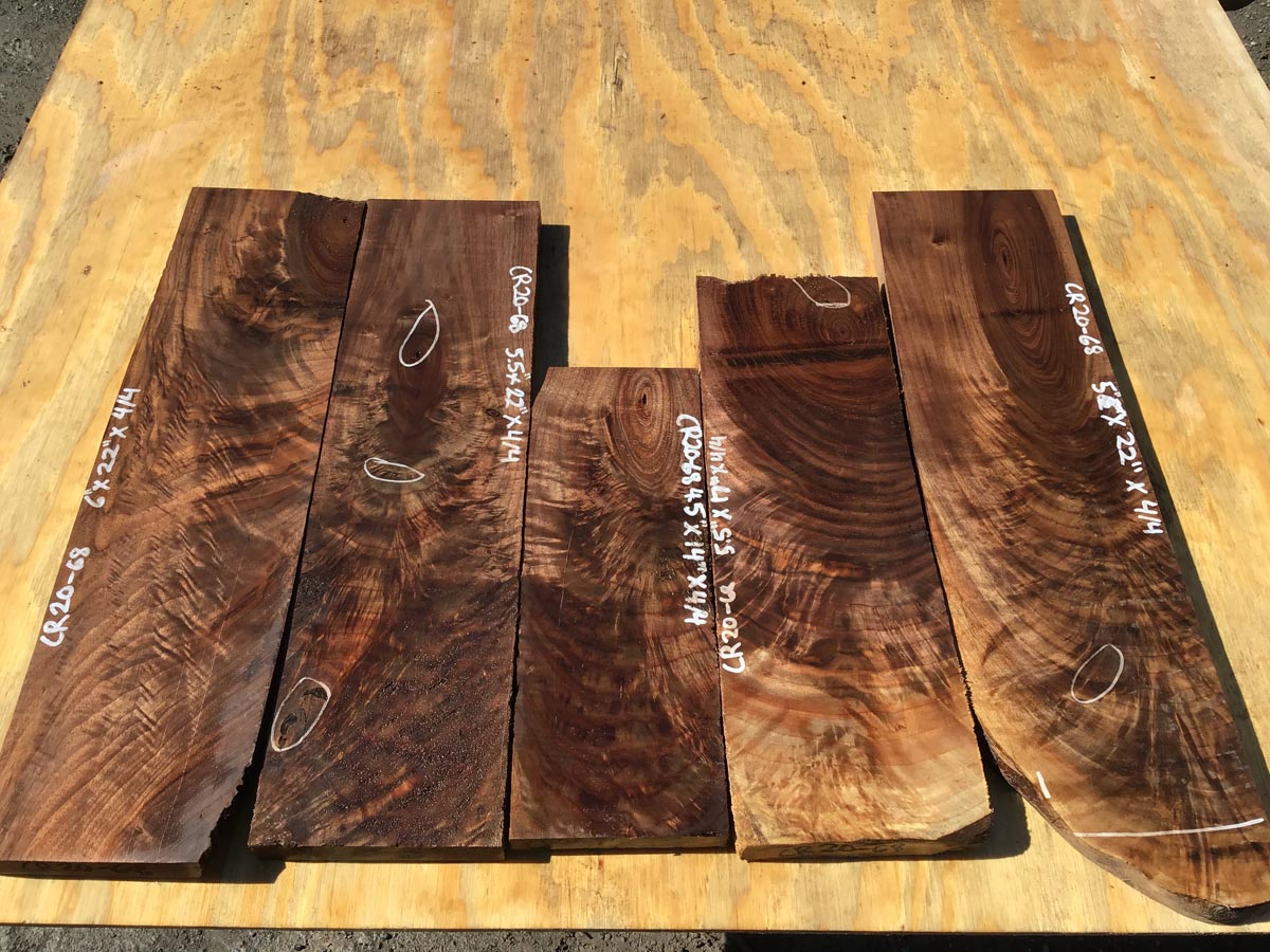 walnut crotches, figured walnut, drawer panels, door panels