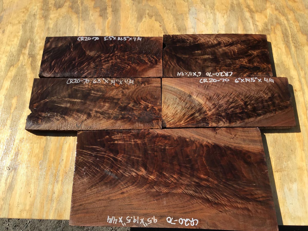 walnut crotches, figured walnut, drawer fronts, door fronts