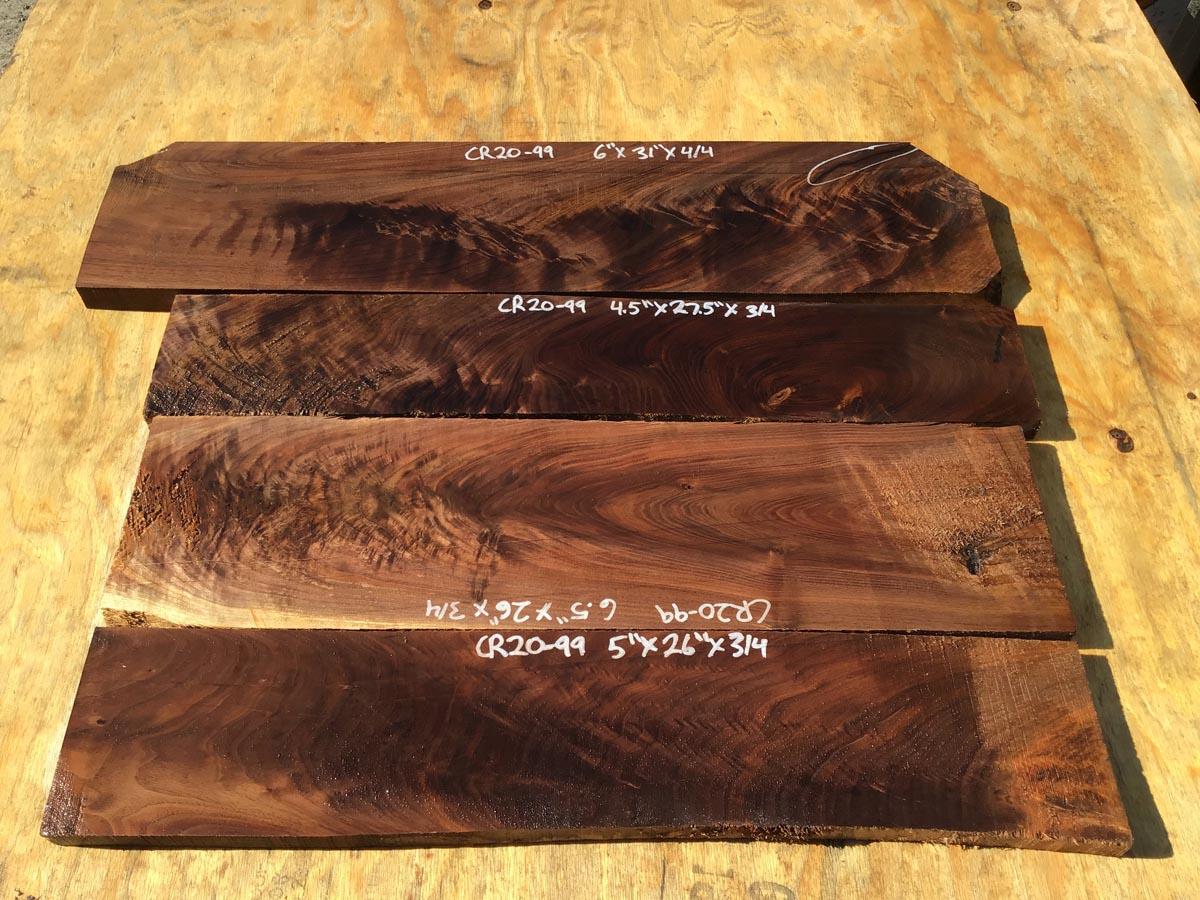 walnut crotches, unsteamed walnut, figured walnut, drawer fronts, door fronts