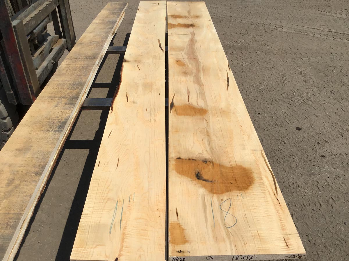 curly ambrosia maple lumber, wooden tops, premium lumber