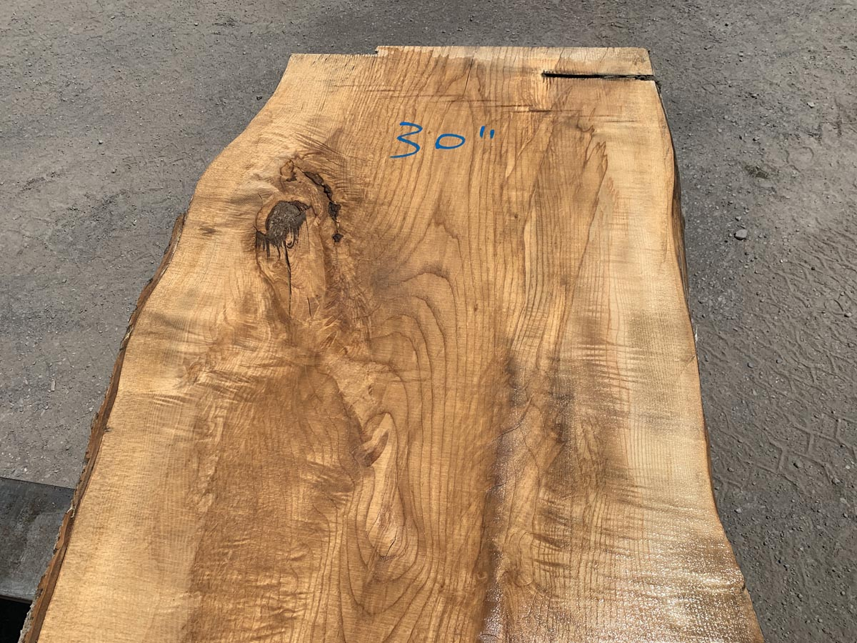 live edge figured ash, figured ash slab, wooden tops, premium lumber