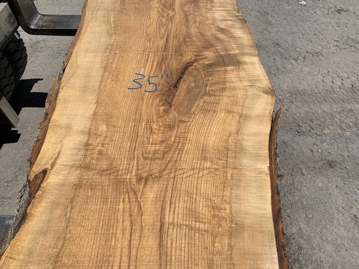 live edge figured ash, figured ash slab, wooden tops, rustic lumber, 10/4
