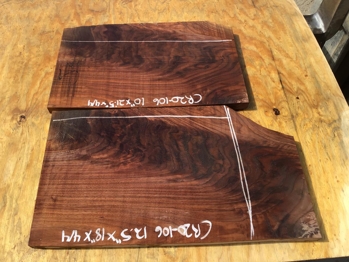 walnut crotches, drawer fronts, door fronts, figured walnut, unsteamed walnut