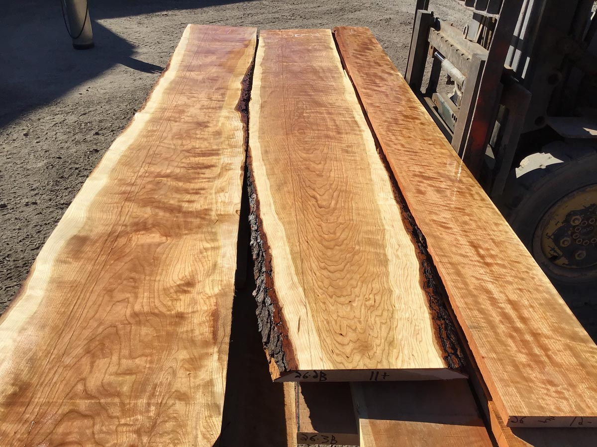 wide curly cherry lumber, wooden tops, premium curly cherry lumber