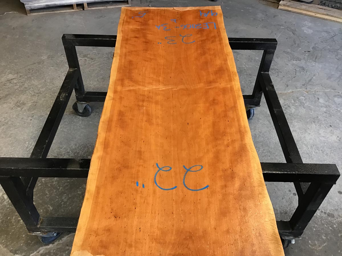 live edge curly cherry, short live edge curly cherry, wooden tops, coffee tables, hardwood lumber