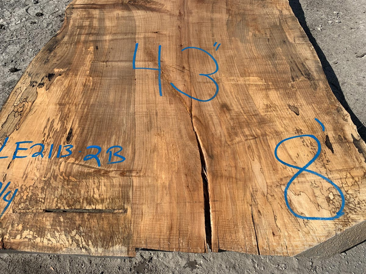 live edge spalted maple slab, wide live edge spalted maple, rustic spalted maple slab, hardwood lumber
