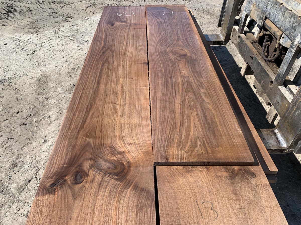wide walnut lumber, unsteamed walnut, hardwood tops, variegated walnut lumber