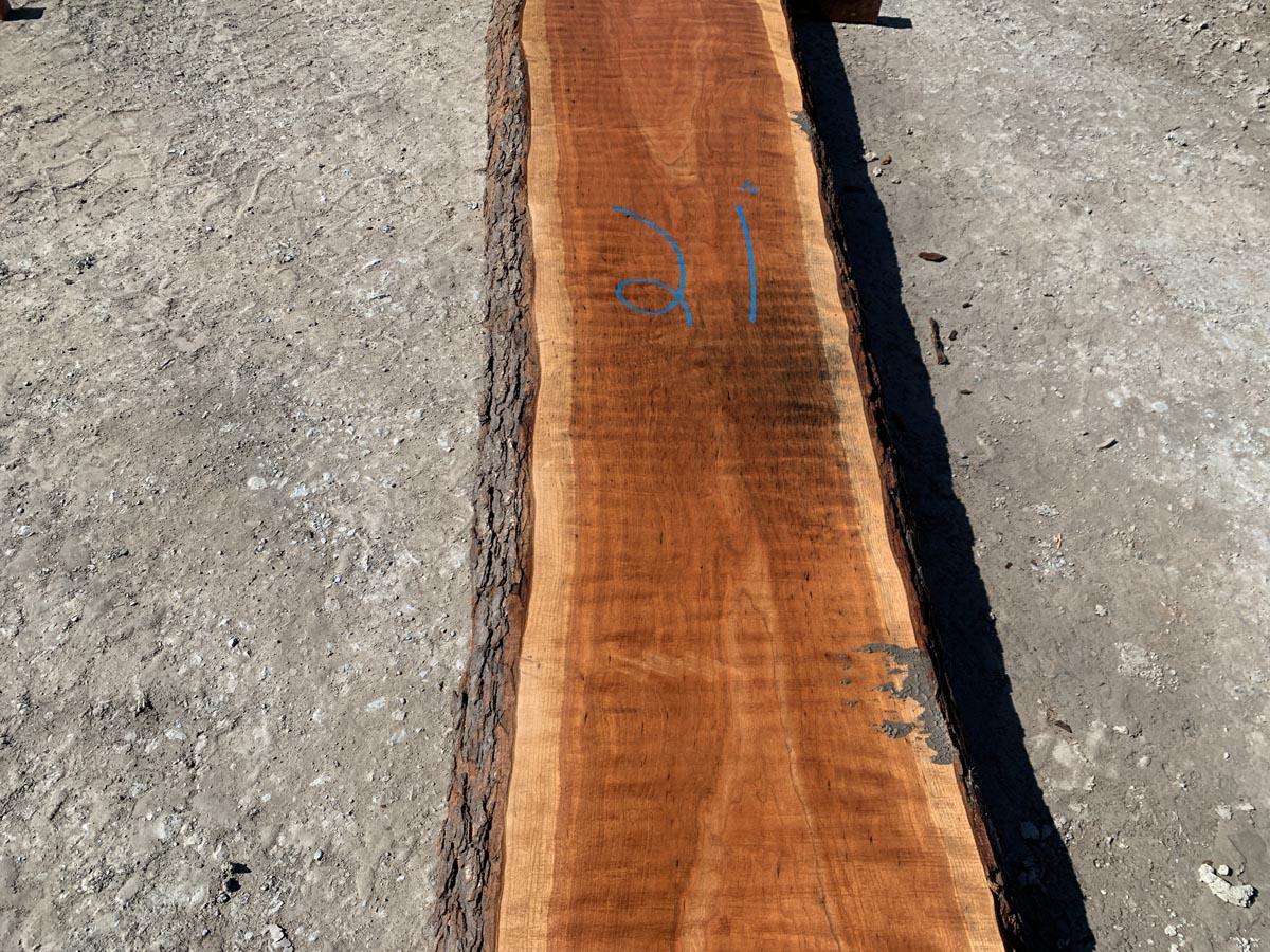 live edge curly cherry slab, hardwood tops, high quality lumber