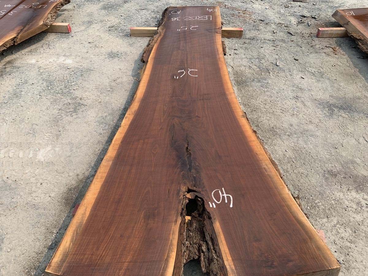 live edge walnut slab, unsteamed walnut, kiln dried lumber,