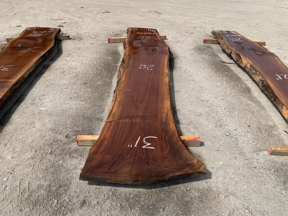 live edge walnut slab, premium lumber, unsteamed walnut