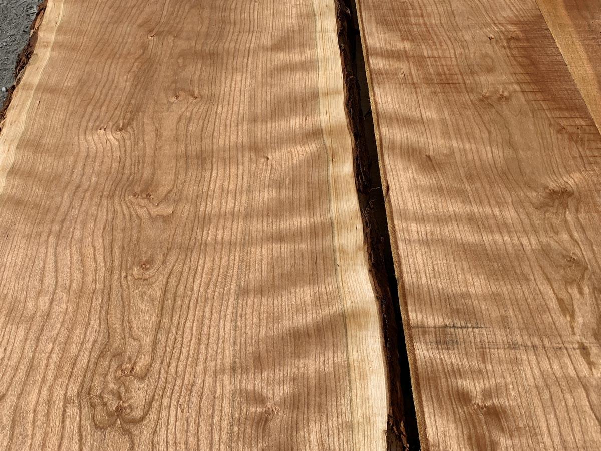 live edge curly cherry lumber, wooden tops, hardwood lumber