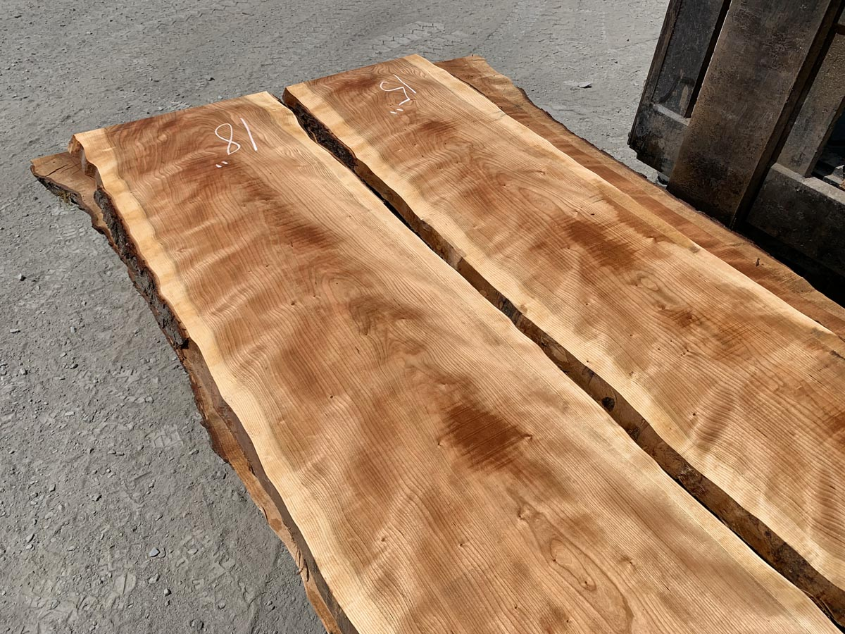 live edge curly cherry lumber, wide lumber, wooden tops