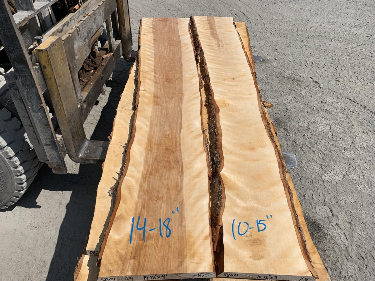 live edge flame birch lumber, premium lumber, high quality lumber