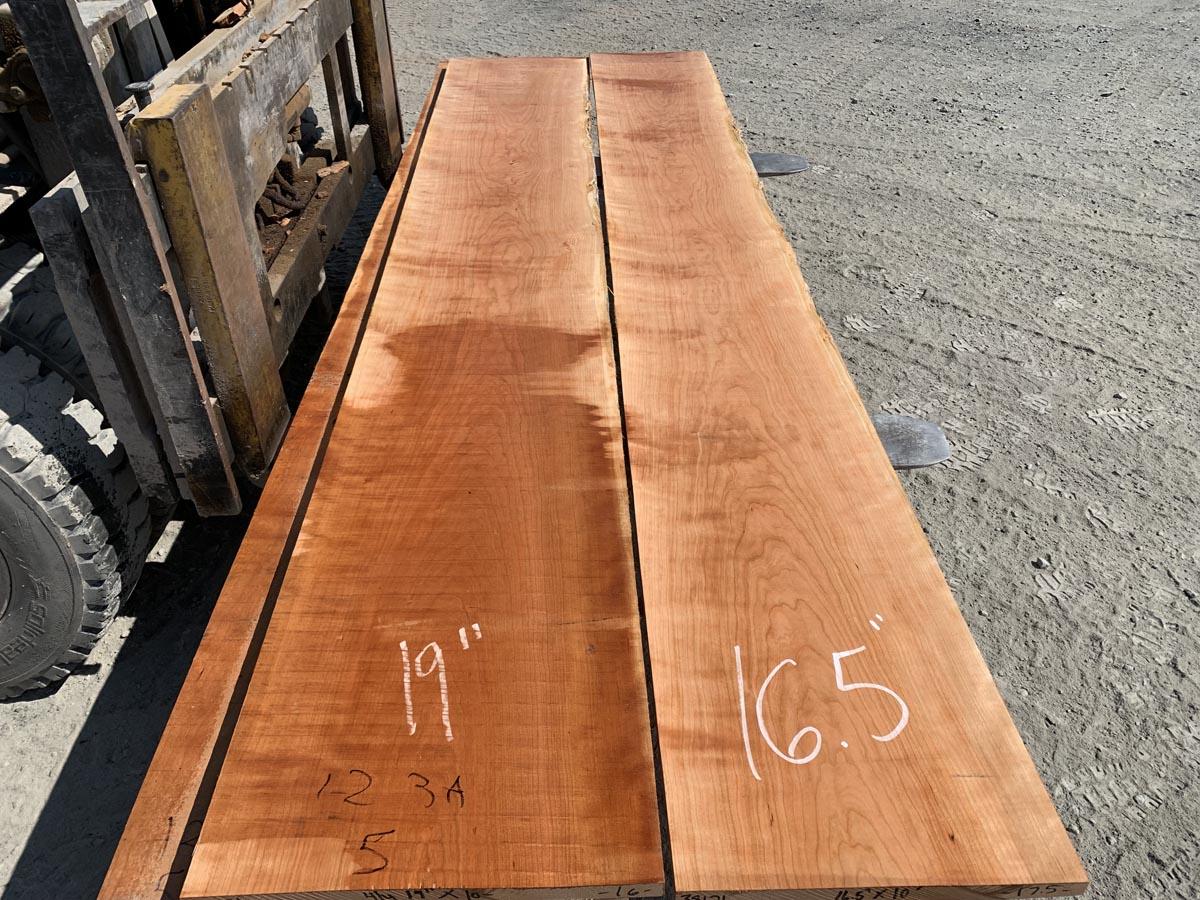 wide curly cherry lumber, wooden tops, hardwood lumber